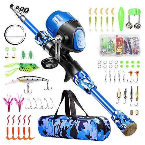 Gamashino Kids Fishing Pole - Telescopic Fishing Rod and Reel Combo Kit - Fishing Gear, Fishing Lures, Carry On Bag, 70 Set Fully Fishing Equipment - for Boys, Girls, Youth (Blue, 4.92)