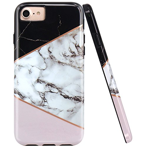 JAHOLAN Black Geometric Pink Marble Design Black Bumper Glossy TPU Soft Rubber Silicone Cover Phone Case Compatible with iPhone 7 iPhone 8 iPhone 6 6S