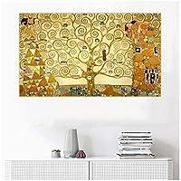 グスタフ・クリムト《生命の樹、1909》キャンバスアート油絵有名なアートポスター画像壁の装飾装飾-60x100cmフレームなし