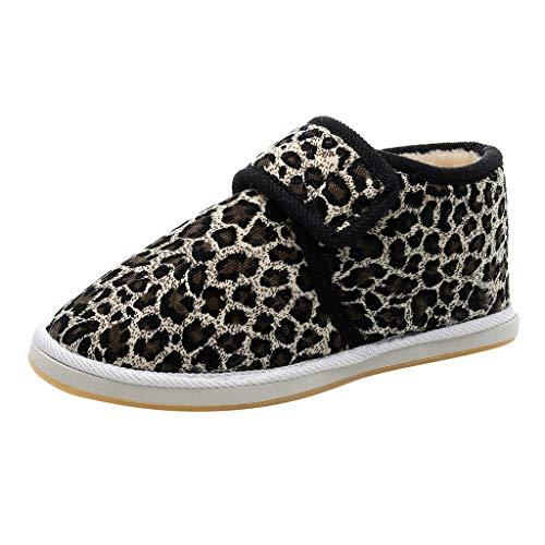 Baumwollschuhe Leopard Klettverschluss Warme rutschfeste wasserdichte Schlauchwinterschneeschuhe Sportschneeschuhe für Mädchen und Frauen