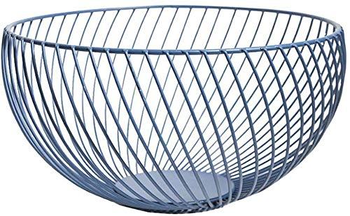 NMBC Canastas de Frutas Gran Capacidad de Hierro Redondo Cesta de Alambre para Frutas para Ahorrar Espacio Canasta de Almacenamiento de frutas-25.5cmX13.5cmX9.5cm C