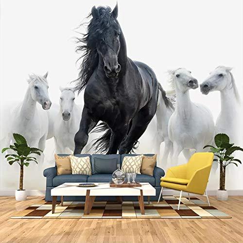 ZPDM 3D No Tejido o Vinile 15 tamaños Mural Pelar y Pegar Mural Fondo de Pantalla Negro blanco animal caballo Pegatinas De Pared, Calcomanías De Vinile De Creativo Extraíble Para Baño Niños Do