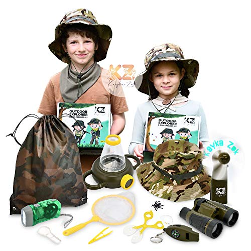 Kayka Zak Kids Adventure Kit, Outdoor Explorer & Bug Catcher with Binoculars, Flashlight, Magnifier, Fan, Butterfly Net, Exploration Toys for Boys & Girls Age 3-12 yrs Hunting Hiking Safari