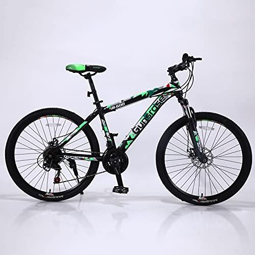 Pateacd Mountainbike 26 Zoll, Shimano 21 Gang-Schaltung, MTB Fahrrad Mit Gabelfederung, Downhill Bike Mit Scheibenbremse, Jugendfahrrad Für Damen, Herren, Mädchen, Junge,Grün