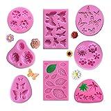 8 Pezzi Mini Stampi in Silicone Fondente del Fiore, JC-Houser Squisita Fiore Foglie Farfalle Cioccolato Caramelle Stampi, Multifunzionale Argilla Zucchero Sapone Craft Strumento Decorazione