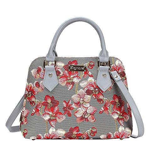 Signare Tapisserie Handtaschen Damen, Umhängetasche damen schultertasche damen und Umhängetaschen damen mit Blumenmustern (Orchideen)
