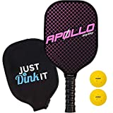 Pickleball Paddle with 2 Pickleballs | Lightweight | Apollo Premium Graphite/Carbon Fiber | Meets USAPA Specifications