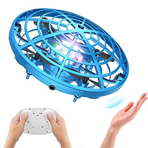 ShinePick Mini Drone pour Enfants, UFO Drone Quadcopter à Commande Manuelle et Télécommandé, Drone Balle à 360° en Rotation avec Lumières LED, Cadeau Jouets Volants pour Adolescents Débutant