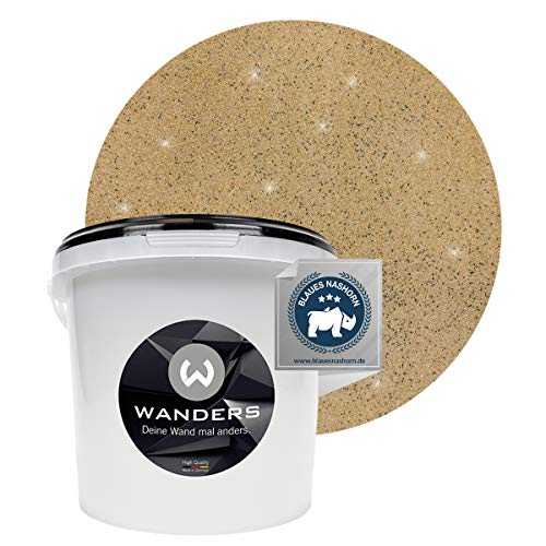 Wanders24® Glimmer-Optik (3 Liter, Gold-Sand) Glitzer Wandfarbe - Wandfarbe Glitzer - abwaschbare Wandfarbe - Glitzerfarbe - Made in Germany
