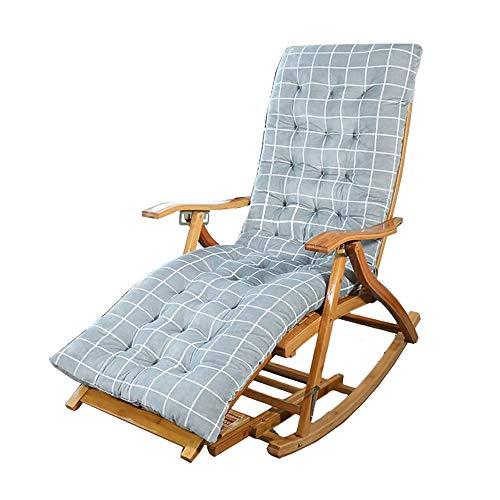 Chaises longues ZR- Fauteuil À Bascule en Bambou Ajustable Dossier en Forme De S Chaise Pliante De Balcon avec Massage des Pieds Vieil Homme Chaise Siesta avec Coussin (Color : Chair+Cushion)