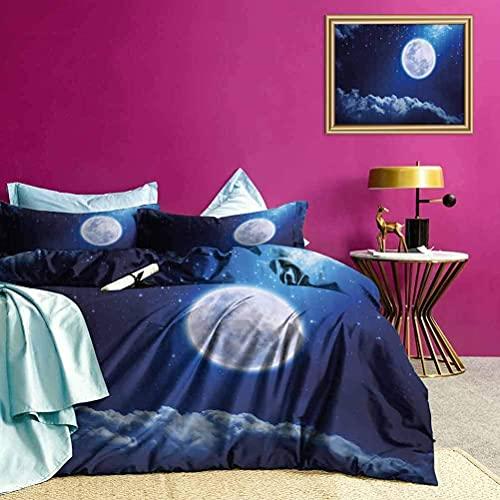 Copriletti Copriletto Luna Piena Stelle Cadenti Set Copripiumino Leggero Goditi una Grande Notte di Sonno