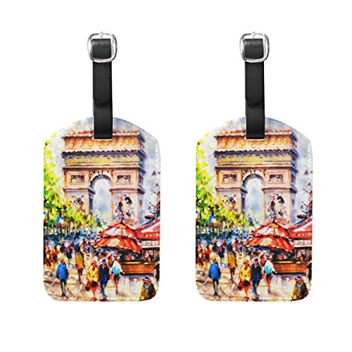 COOSUN Colorful Painting of Arc D' Triomphe Paris Luggage Tags Travel Labels Tag Name Card Holder for Baggage Suitcase Bag Backpacks, 2 PCS