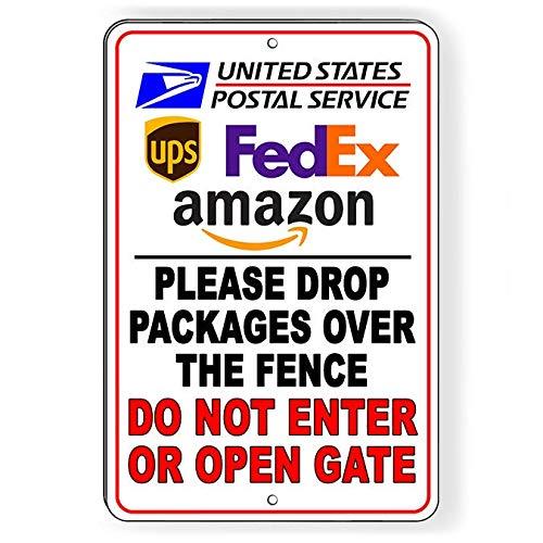 Laat pakketten over het hek niet binnengaan of openen poort aluminium teken of Decal SI256