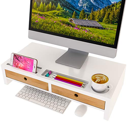 Computer Monitor Stand with Drawers - White Wood Laptop Screen Printer TV Riser 22.05L 10.60W 4.70H inch, Desk Organizerin Home&Office