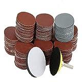 Suny Smiling - Set di 300 dischi abrasivi da 5,1 cm, per levigatrice e trapano abrasivo, con 1 cuscinetto di supporto e 1 tampone in schiuma morbida