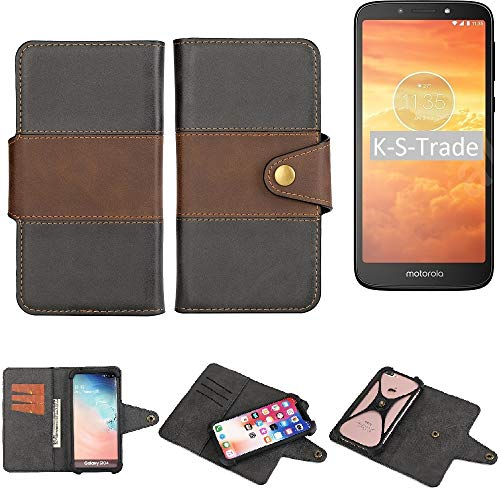 K-S-Trade Handy-Hülle Schutz-Hülle Bookstyle Wallet-Hülle Für Motorola Moto E5 Dual SIM Bumper R&umschutz Schwarz-braun 1x