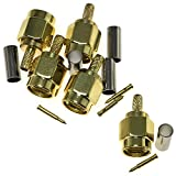 RLECS 5-Pack RP SMA Male Crimp Plug Connector with Female Pin Straight RF Coax Connector for RG316 RG174 LMR100