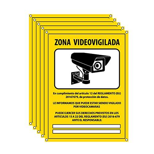 Cartel videovigilancia - Placa zona videovigilada – Carteles cámara vigilancia 20x15 cm - Amarillo Interior-Exterior - PVC (5 Piezas Cartel Videovigilancia)