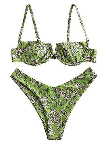 ZAFUL Zweiteiliger Bikini Set, Blumenmuster Hoch Geschnitt Bikini mit Bügel & V-Badehose für Damen (Grün, M)