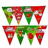 DaoRier Muster Weihnachtsmann Fahne ziehen Banner Wimpel Fahnen Wimpel Deko Garten Outdoor Party Papier Rot Grün 11 2.5m