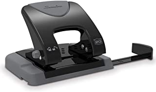 Swingline 2 Hole Punch, Hole Puncher, SmartTouch, 20 Sheet Punch Capacity, Low Force, Black/Gray (74135)