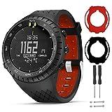 T-BLUER Watch Band Compatible for Suunto Core Correa,Accesorio de Pulsera de Correa de Repuesto de Silicona y Funda Protectora de Cubierta Completa para Suunto Core Smart Watch,Negro Rojo