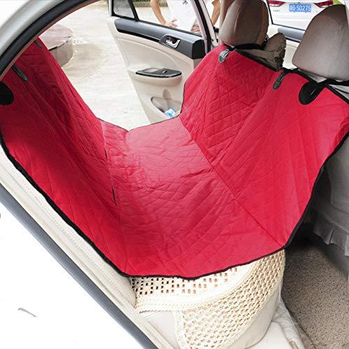 Whinop Lona para Coche Perro Rojo Mascotas Perros para Asiento Trasero con Cinturones de Seguridad para Mascotas
