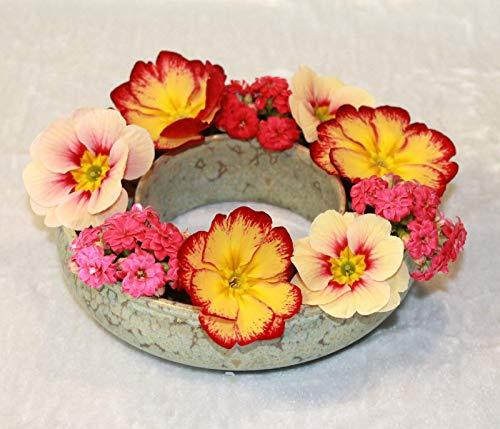 Blumenring Keramik grüne Effektglasur, schöne Dekoraton - ideales Geschenk
