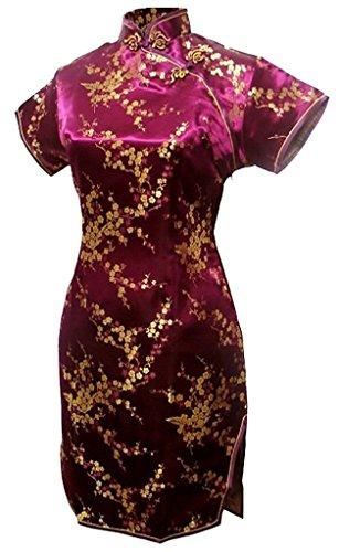 Shanghai Story Women's Short Qipao Rayon Cheongsam Chinese Dress XL WPurple Flower