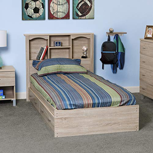 OS Home and Office Furniture Model 41109 Twin Sized Bed with Bookcase Headboard and Two Underbed Drawers Platform, Single, Sand