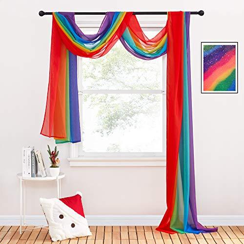 PONY DANCE Querbehang Dekoschals für Fenster Gardine - Voile Gardinen Transparent Gardinenschals für Himmelbett & Hochzeit Deko, 1 Stück H 548 x B 152 cm, Regenbogen-1