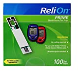ReliOn Prime Blood Glucose Test Strips, 100 Count, Single Pack