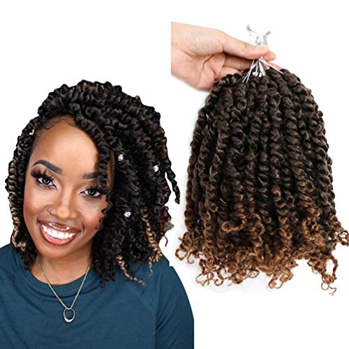 Ombre Pre-twisted Passion Twist Hair 10inch 7 Pack Pre-looped Passion Twist Crochet Hair T30 Color 12 strands/pack Easy to Install Crochet Braids