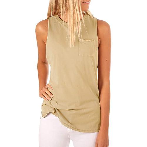 ef512758d9 Women's High Neck Cami Tank Top Sleeveless T Shirts Plain Pocket 2018  Summer Tops