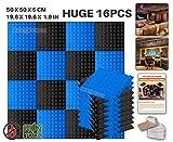 Ace Punch 16 Paquet 2 Combinaison de Couleurs PyramideMousse Acoustique Panneau Insonorisation Sonorisation Absorbeur Traitement avec Ruban Adhésif 50 x 50 x 5 cm Noir et Perle Blanche AP1034