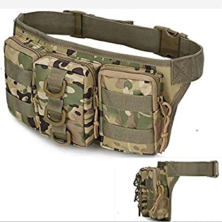 Camo Fanny Pack for Men&Women, Mens Waist Pack with 3 Zipper Pockets Hanging Loops, Small Tactical Waist Bags for Men.