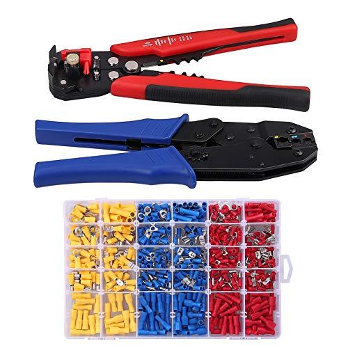 COLFULINE Kabelschuhe Kabelschuhzange Abisolierzange Crimpzange Presszange 500x Quetschverbinder Verbinder 0,5-6mm²