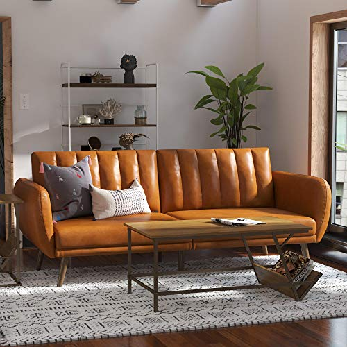 Novogratz Brittany Futon, Convertible Sofa & Couch, Camel Faux Leather Sofas