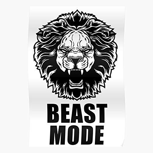 Revolve Lion Gym Mode Beast Zyzz Memes Fitness Bodybuilding Beeindruckende Poster für die Raumdekoration, gedruckt mit modernster Technologie auf seidenmattem Papierhintergrund