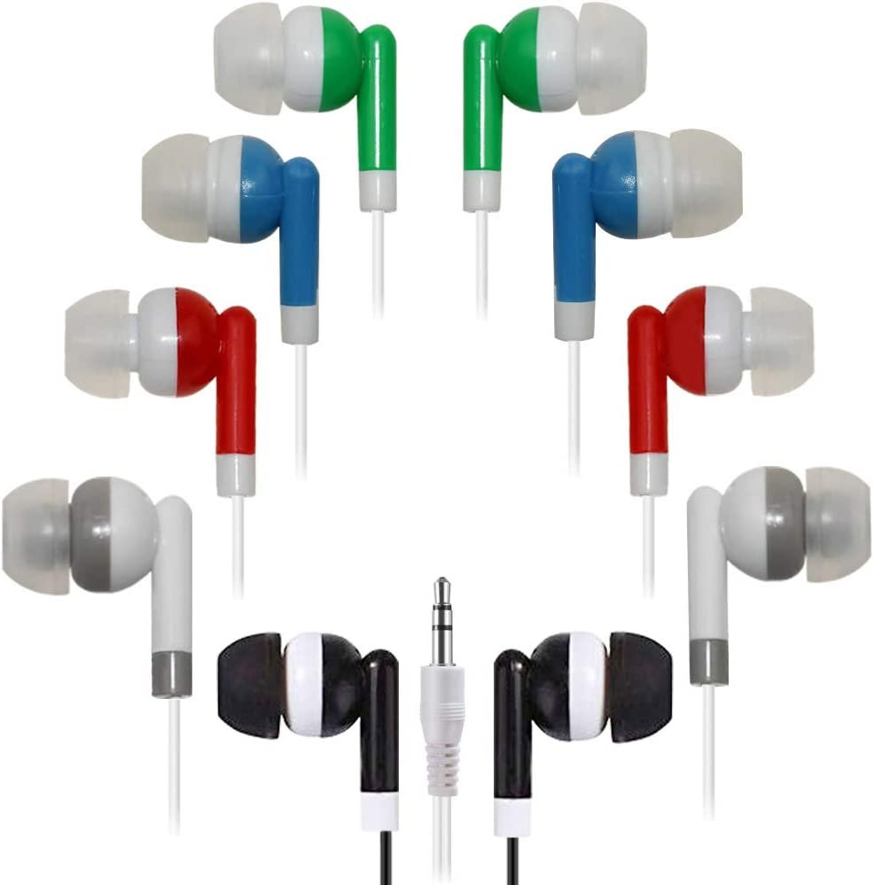 Bulk Earbuds 50 Pack Multi Colored for Classroom,HONGZAN Wholesale Earbuds Headphones Earphones for Kids,Individually Bagged,Perfect for Students,Schools,Hospitals,Hotels,Library,Museums