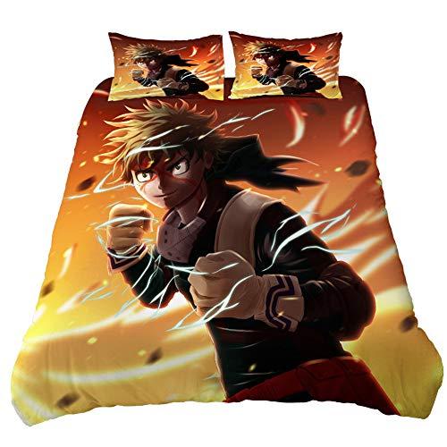 MLX-BUMU My Hero Academia Bedding Set,Duvet Cover And Pillowcase, 3 Piece Set Bedding Single Double Duvet Cover,173x210cm