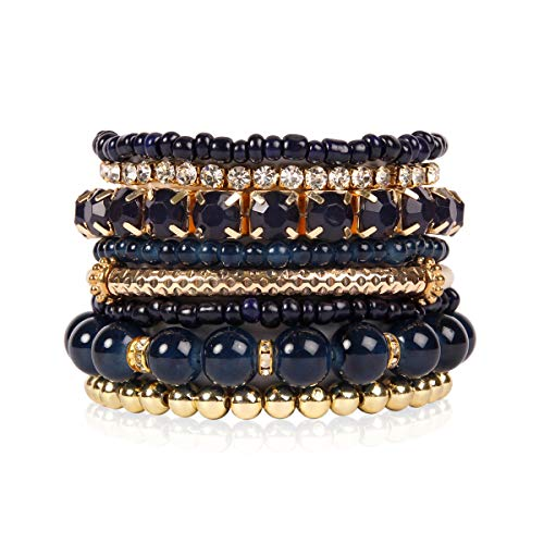 Multi Color Stretch Beaded Stackable Bracelets - Layering Bead Strand Statement Bangles (Original - Navy, 7)