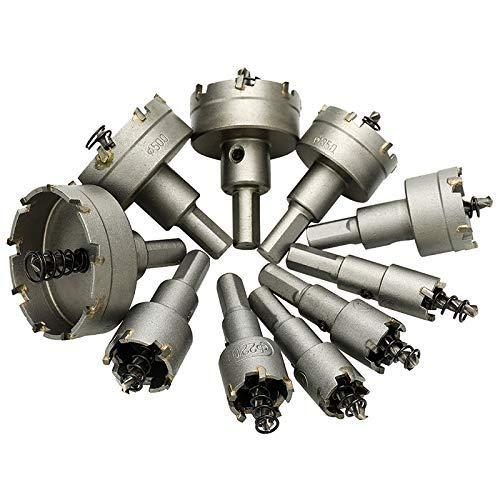 LKK-KK 10Pcs Carbide Tip Hss Drill Bit Saw Set Metal Wood Drilling Hole Cut for Installing Locks 16/18/19/22 /25/30/35/42/50/ 53Mm