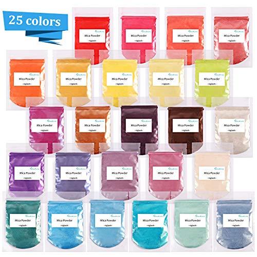 Epoxidharz Farbe metallic 25 Farben (25er×10g), Mica Powder Glitter, Epoxy Resin Farbpigmente Pigmentpulver, Farbe für Kunstharz Gießharz, Seife, Badebombe, Kerze, kosmetischer, Lidschatten, Nagellack