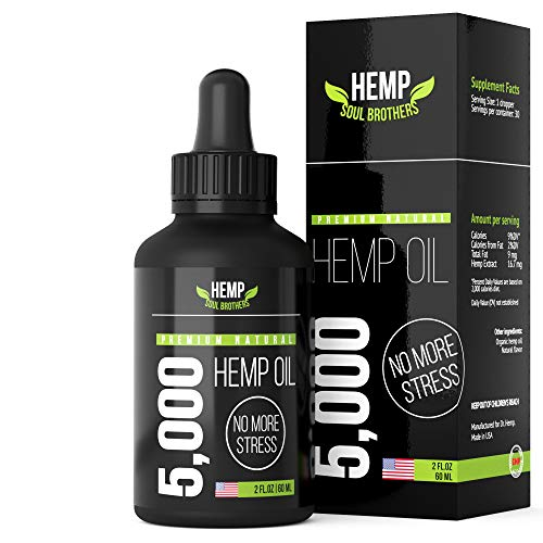 Hemp Oil 5000 MG - 100% Natural Anxiety & Stress Relief - Made in USA - Immune Booster - Anti-Inflammatory - Calm Sleep & Mood Support