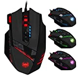 Gaming Mouse, Lychee USB Wired Optical Gaming Mice, 4000 DPI Professional 12 Buttons Programmable Gamer Mouse with RGB Backlit, Adjustable 2.4G Acceleration for Laptop/ PC/ Computer