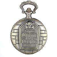 JewelryWeレトロブロンズTim Burton 's Nightmare BeforeクリスマスEngraved Quartz Pocket Watchネックレスロケットペンダント31インチチェーン(ギフトバッグ付き)