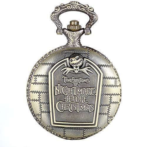 JewelryWe Retro Bronce Reloj de Bolsillo Pesadilla Antes de Navidad Grabado Cuarzo Reloj con Collar Largo 80cm, Reloj de Colgante