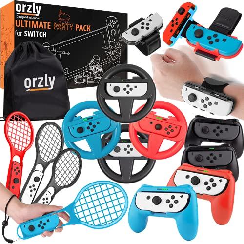 Orzly Pacchetto di Accessori PartyPack - per Nintendo Switch - 4X Impugnature per Controller e Volanti Cinturini da Ballo da Polso Racchette da Tennis e Borsa da Viaggio con Coulisse