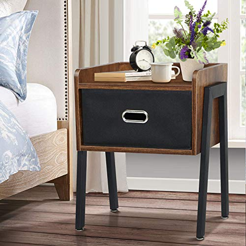 KINGSO Nightstands Industrial Side End Tables with Storage Drawer Bedside Table Night Stand for Small Spaces Bedroom Wood Accent Furniture with Stable Metal Frame, Rustic Brown